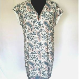 Madewell Flora Paisley Silk Tunic Dress Size Small
